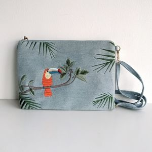 Tropical Embroidered Denim Purse